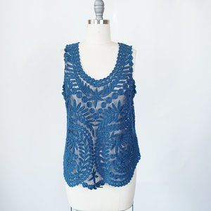 Baraschi Lace Top M Embroidered Sheer Scallop Hem